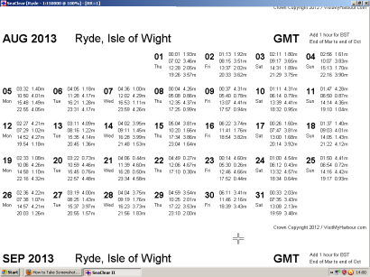 sample tide table
